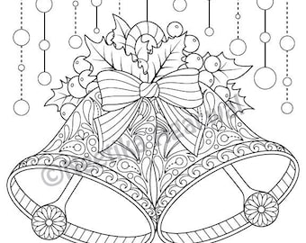 Christmas Bells Adult Coloring Page Printable Digital