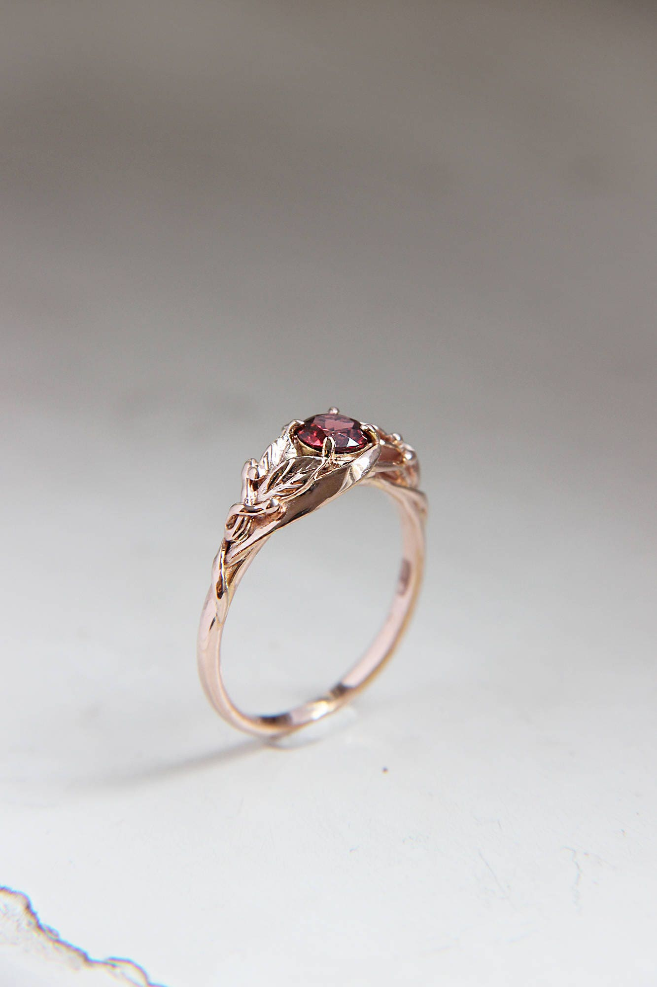 Garnet engagement ring, rose gold engagement ring, custom proposal ...