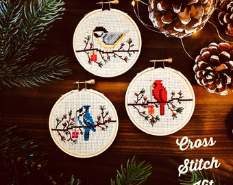 Bird Cross Stitch Ornament Kit - Choose Your Own 3 Designs!