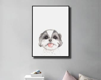 Watercolor Shihtzu Wall Art Print, Year of Dog, Chinese New Year, Dog Lover Gift, Instant Download, Gift for Her, Nursery Decor, Home Decor