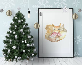 Christmas Printable Art - Watercolor Squirrel Painting - Digital Print, Wall Art, Instant Download, Nursery Decor, Gift for Kids, Cute Gift