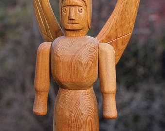 Primitive Winged Angel Folk Art Carving