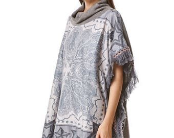 Printed Turtle Neck Chic Poncho Cardigan in Grey