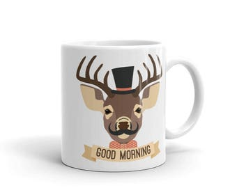 Gentlemen deer mug - good morning - moustache hipster reindeer coffee tea mug