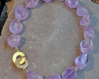 Amethyst Necklace with gold-plated 925 silver