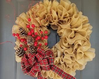 Rustic Christmas Wreath; Burlap Wreath; Plaid ribbon; Pine cone; Berries; Christmas Wreath