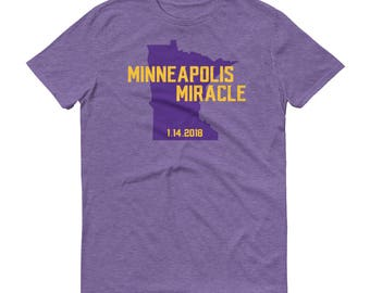 Minneapolis Miracle Minnesota Vikings Football Fan Purple Reign Skol Short-Sleeve T-Shirt