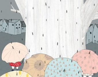 RAIN-High quality Print illustration and frame