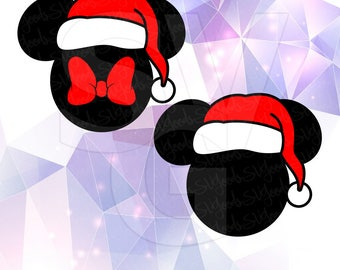 Mickey and Minnie Mouse Santa Hat Beard Glasses Layered SVG DXF EPS Vector Silhouette Cricut Cameo Vinyl Cut Files Digital Head Ears Disney