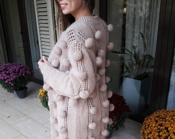 Cardigan with Bubbles from Mohair, Handmade