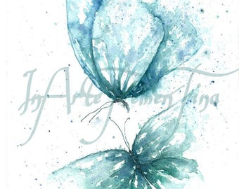 Digital File of my original painting with blue butterflies