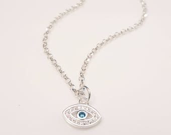Sterling Silver Dainty Evil Eye Necklaces Blue Eyes Minimalist Kabbalah Jewelry Simple Delicate Womens Girls Layered Necklaces GioiePreziose