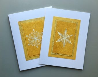 Sunny snowflake blank cards (set of 2), individually handmade: A2, holiday cards, solstice, let it snow, SKU BLA21065