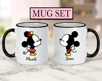 Personalized Mickey and Minnie Set of Mugs