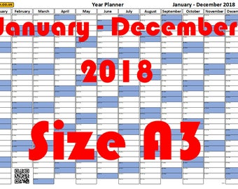 A3 Blue Year Wall Planner January 2018 - December 2018 FREE SHIPPING!!!