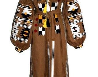 Ukrainian Embroidery Linen Boho Dress Bohemian Style Boho Ukrainian Dresses Vyshyvanka Custom Boho Dress Chic Nationale Vishivanka Dress