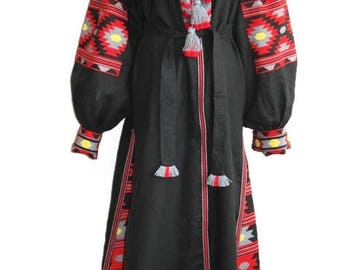 Vyshyvanka Dress Kaftan Dubai Abaya Dresses Long sleeve Ukrainian Embroidery Bohemian Dresses Custom Boho Dress Vishivanka Black Linen