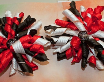 Pair of korker hair bows, Red, white and black, alligator clip
