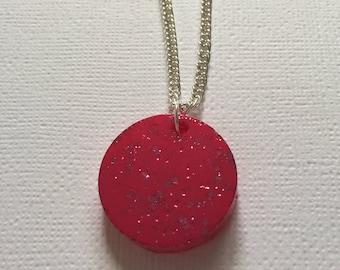 Bright Pink Sparkle Confetti-Glitter Round Pendant Necklace