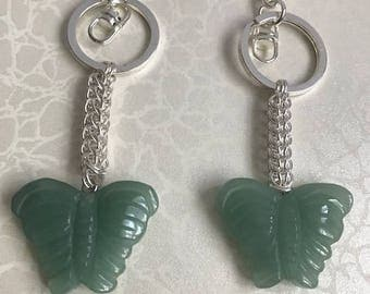 Green Adventurine butterfly handbag charm