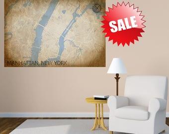MANHATTAN NY Canvas Print, New York City, Vintage map, NYC, Vintage map, City Horizontal Long Wall Art, Gift idea, old panoramic map, poster