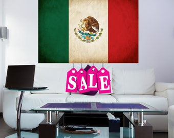MEXICAN FLAG CANVAS print mx print mexico poster Mexican wall canvas large canvas flag mx vintage flag World Flags Canvas Flag Canvas Gift