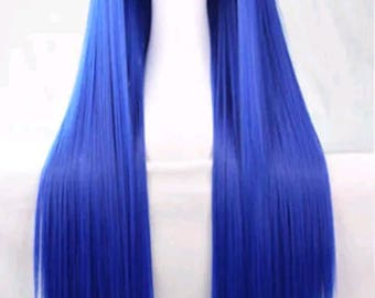 Customizable - BLUE -  long straight Wig w/ bangs - scene emo cosplay anime punk lolita mermaid hair styles real Wig - fast shipping