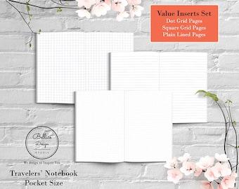 Pocket Planner, Field Notes Notebook, Printable Dot Grid, Dot Grid Paper, Printable Lined Paper, Prinatble Planner, Midori TN Insert
