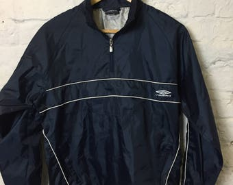 Vintage Retro 90s Umbro Navy Pull on Waterproof Jacket