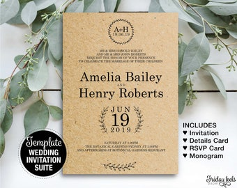 Rustic Wedding Invitation Suite Template, Editable Template, Printable PDF, Instant Download PDF, Monogram Wreath, W02