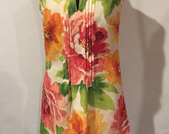 Floral Pleated Tunic Blouse with Lace Tie