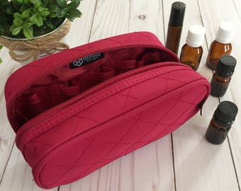 10-Bottle Essential Oil Travel Carrying Case for 5, 10 or 15ml Bottle Storage (Cranberry)