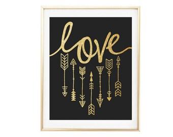Love Boho Black and Gold Wall Art Faux Glitter Letters Arrows Printable Digital Romantic Art Couples Print Anniversary Gift Family Art