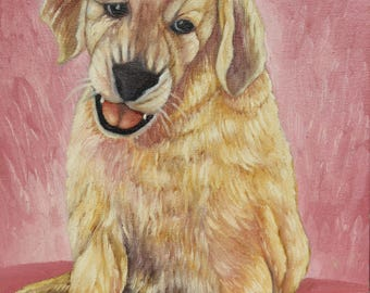 Dog, dog, puppy, puppy, man's best friend, pet, pet, animal, Labrador, oil painting on canvas, oil on canvas, painting