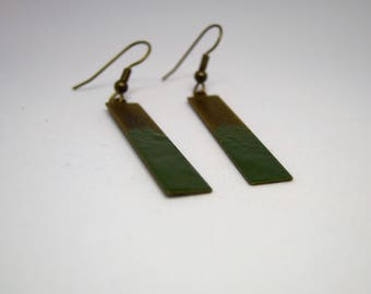 Rectangular earrings in brass and khaki green enamel speckled/geometric/modern/minimalist/gifts for women