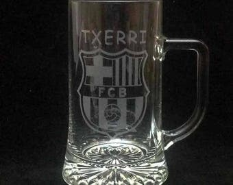 Beer jug engraved with drawing and text desired
