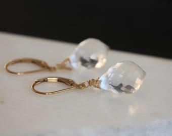 Clear Quartz Earrings   Bridal Earrings   Gift for Her   Chandelier Briolette Earrings   Rock Quartz Earrings l 14 k Gold Filled Earrings