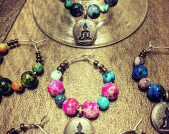 Buddha Wine Glass Charms - Set of 8