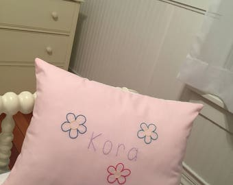 Little Girl Personalized Throw Pillow