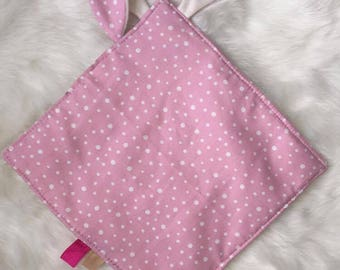 Flat pink with white polka dots