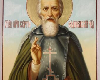 Saint Sergius of Radonezh Russian Orthodox Icon, handpainted icon