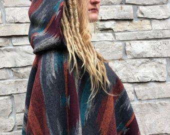 Bohemian Aztec Hand-Fringed Hooded Poncho