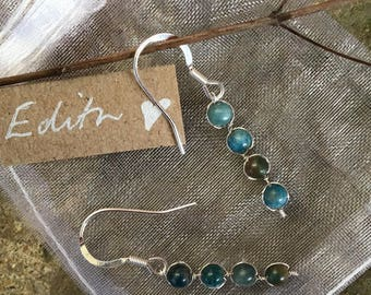 The 'Edith' Handcrafted semi precious green and blue mottled stone and silver hook earrings.