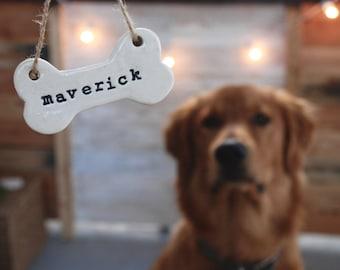 Custom Dog Tag Ornament, Dog bone ornament - Clay Pet Christmas Ornament, dog stocking tag, Personalized Ornament - Rustic stamped Ornament