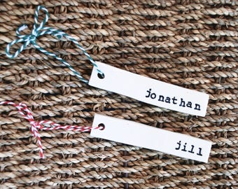 Set of two custom name tag ornaments, stocking name tag, personalized Christmas, handmade white ceramic, stocking ornament, rustic