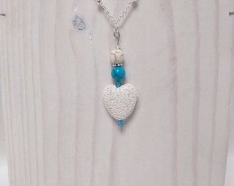 Essential Oil Diffuser Necklace of Blue & White Turquoise, a White Lava Rock Heart and Crystal Accents