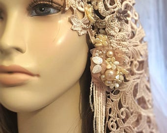 Cathedral Veil - Blush Bridal Veil - Mantilla Veil - Beaded Lace Wedding Veil - Champagne Wedding Veil - Juliette Style Veil