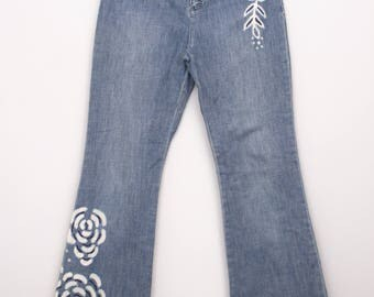 Unique Dana Buchman Embellished  Bell BottomJeans