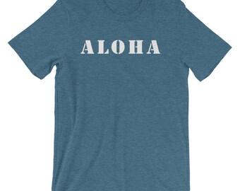 Aloha Shirt with Hawaiian Islands on back - summer tshirts - mens hawaiian shirt