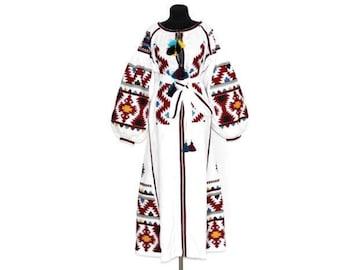 Vyshyvanka dress ukrainian embroidery vishivanka white linen boho dresses bohemian clothing embroidered kaftan long robe front open mexican